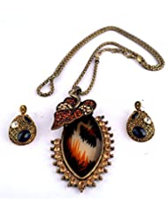 IMeMyStile_Imported Designer Collection_Stunning Antique Gold Finish Designer Pendant With Long Rope Chain And...