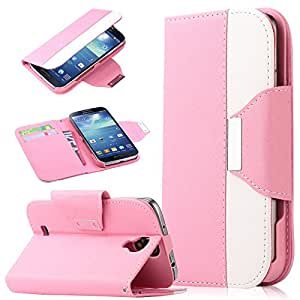 Pandamimi ULAK Colorful PU Leather Wallet Type Magnet Design Flip Case Cover for Samsung Galaxy S4 Galaxy SIV i9500 + Screen Protector + Stylus (Hot Pink+White)