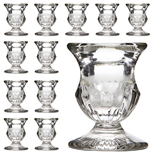 Hosley's Set of 12 Glass Taper Candle Holders - 2.5