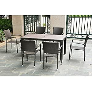 Barcelona Resin Wicker Dining Table Chairs Set Garden A
