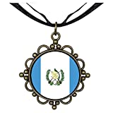 Chicforest Bronze Retro Style Guatemala flag Round Flower Pendant
