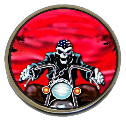 D&L DerbyCappers Gas Cap Cover Red Skull for Harley Davidson Motorcycles