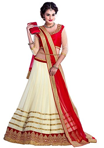 Clickedia-Womens-and-Girls-Net-lehenga-Material-Off-White-Red-Free-Size