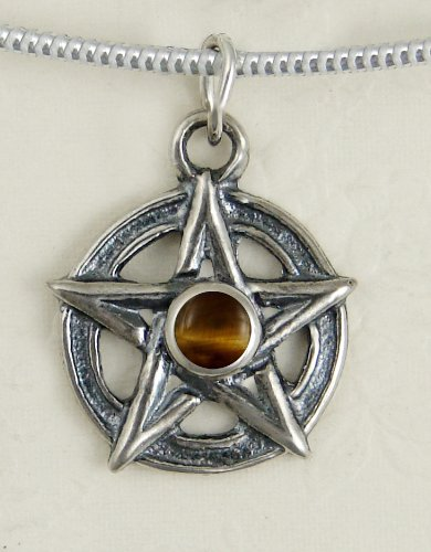 A Perfect Pentacle in Sterling Silver, Accented with Genuine Tiger ...Jewelry Made in America