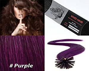 Vivid Hair 25 Strands Straight Micro Ring Links Locks Beads Keratin Stick I Tip Remy Human Hair Extensions Purple Color 0.75g Per Strand