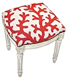 Stool - Coral Gables Needlepoint Stool - Vanity Seat - Coral Seat Cushion