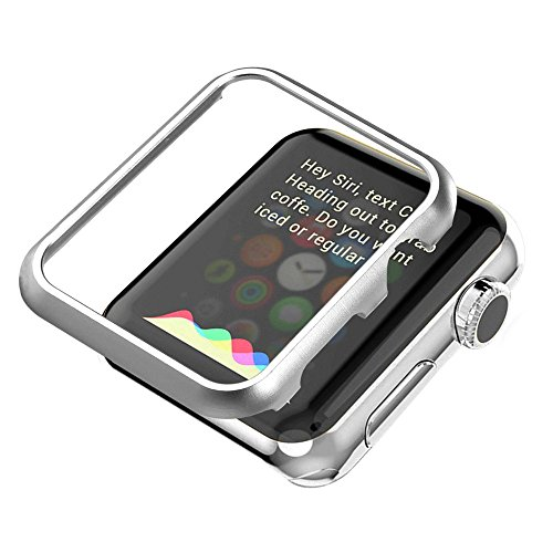 apple-watch-funda-series-1-2-bandmax-42mm-funda-plateada-protector-metal-de-pantalla-metalico-ligero