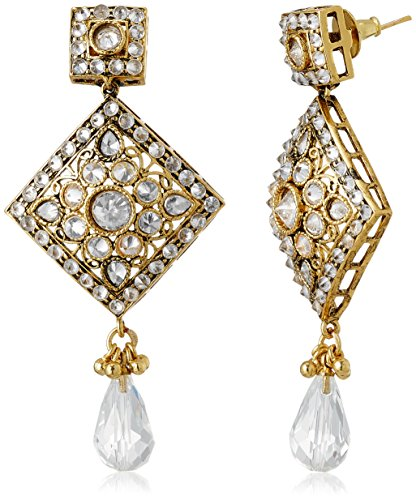 Sia Sia Art Jewllery Drop Earrings For Women (Golden And White) (AZ1342) (Multicolor)