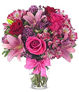 Flower Delivery - Rose & Lily Celebration (FREE Vase) - Flowers
