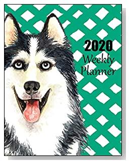 Siberian Husky 2020 Dated Weekly Planner - A fun canine-themed planner to help any dog lover stay organized and keep track of activities on a daily, weekly, and monthly basis from January to December 2020.