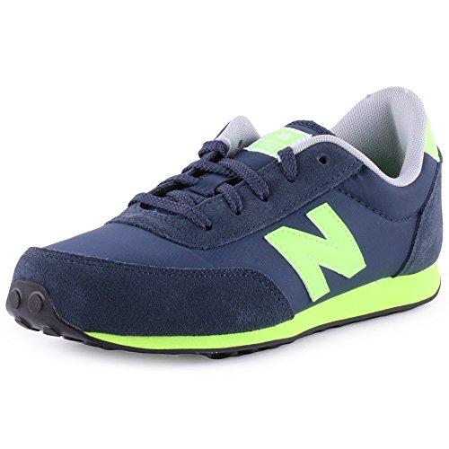 New Balance Neon 410 Kids Suede & Nylon Trainers Navy Green Kids 4.5 Us