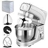 VonShef Stand Mixer, 5.5 Litre, Powerful, Silver, Free 2 Year Warranty - Silicone Beater, Balloon Whisk, Dough Hook, Dust Cover & Splash Guard