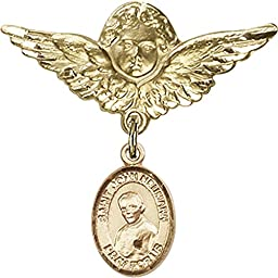 Gold Filled Baby Badge with St. John Neumann Charm and Angel w/Wings Badge Pin 1 1/8 X 1 1/8 inches