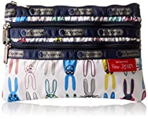 LeSportsac X Peter Jensen 3 Zip Case Cosmetic Bag, Coloring Book Rabbits, One Size