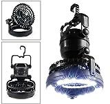 (R-SPORTS) サーキュレーター ファン 付き LED ランタン ライト 電池 式 キャンプ アウトドア 防災 避難 非常 停電 用 ランプ 扇風機 (ブラック)