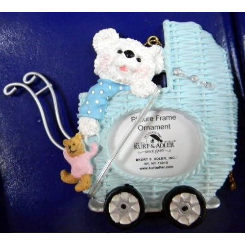 Kurt Adler Baby Carriage Teddy Bears Picture Frame Boys Blue