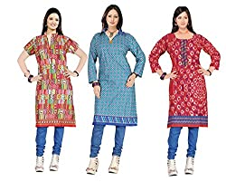 Indian woman's Three combo offer of cotton unstich Different multicolor kurti (RTS CDE 3 F)