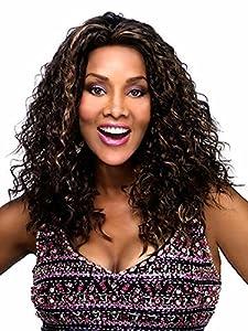 AmorWig Long Kinky Curly Wig Highlight Dark Brown Hair Wig for Africa American Women