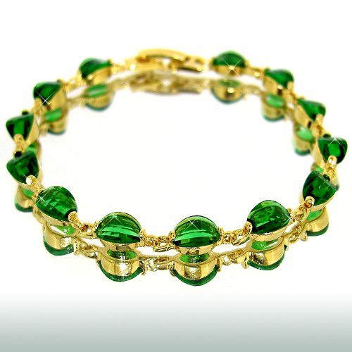 myCullinan Enchanting Oval Cut Yellow Gold Plated Simulated Emerald Bracelet BC404