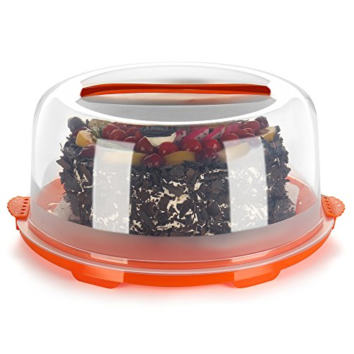 Flexzion Cake Carrier Cover with Handle - Pastry Bakery Pie Cake Holder Server Container Storage Box Keeper Saver with Clear Semi Transparent Round Plastic Dome, Airtight Snap Locking Lid (Orange) (Pie Transporter compare prices)