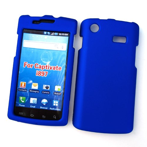 Samsung Captivate I897 (AT&T) Rubberized Snap On Protector Hard Case, Blue (Samsung I897 Case compare prices)