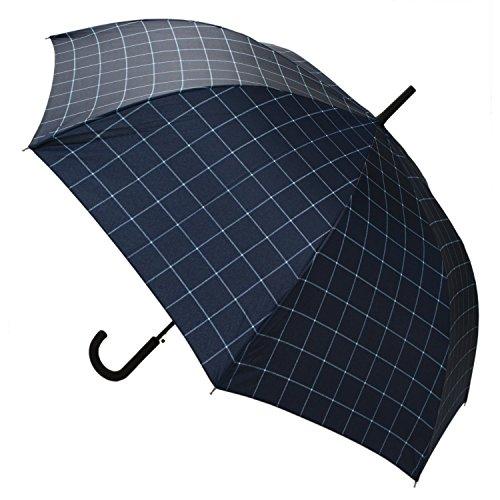 【晴雨兼用】 長傘 ジャンプ傘 シングルチェックネイビー 65cm MSL-009