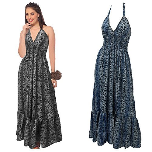 La Leela Leopard Printed Likre V-Neck Halter Sequin Work Long Tube Dress