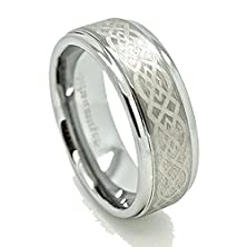 buy 8Mm Silver-Colored Tungsten Carbide Ring With Celtic Knot Wedding Band Engagement Size 5