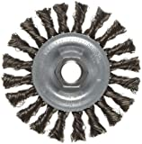 Weiler Vortec Pro Wide Face Wire Wheel Brush, Threaded Hole, Carbon Steel, Partial Twist Knotted
