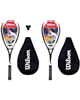 2 x Wilson Ripper Comp Squash Rackets + Covers+ Pack of 3 Squash Balls RRP £140