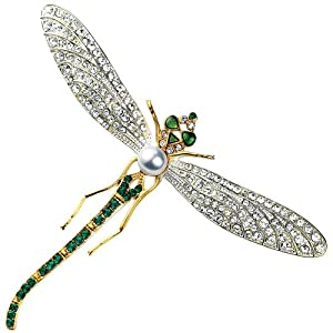 Dragonfly Brooch Swarovski Crystal Version of Diamond, Platinum & Emerald Pin with Pearl, 22K Gold Overlay
