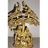 Niliyashoppe Lord Radha Krishna Brass Statue Sculpture Sitting Undertree With Cow & Peacock On Tree, Metal ( Golden...