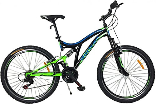 26 Zoll Mountainbike Hurican MTB Fahrrad Fully vollgefedert, Farben:blau-grün