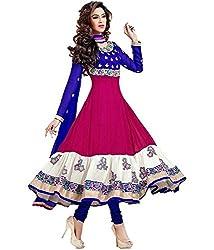 Look N Buy Womens Silk & Georgette Anarkali Dress Material (Pinkwhiteblue _Pink _Free Size)
