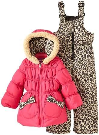 Pink Platinum Baby Girls' Cheetah Snowsuit, Fuchsia, 24 Months