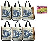 Disney Donald Duck Reusable Tote Bag (Pack of 6) Bonus Disney Minnie Mouse Charm Bracelet