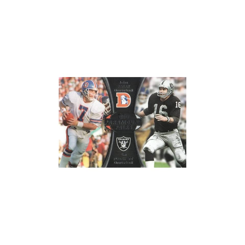 2012 Topps Football Paramount Pairs #PA EP John Elway Denver Broncos/Jim Plunkett Oakland Raiders NFL Trading Card