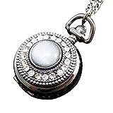 [モノジー] MONOZY ネックレス 時計 - キラキラ 精巧細工 ラインストーン - アンティーク ふた付き 懐中時計 鏡付き ペンダント ウォッチ 収納袋 おしゃれ ネックレス時計