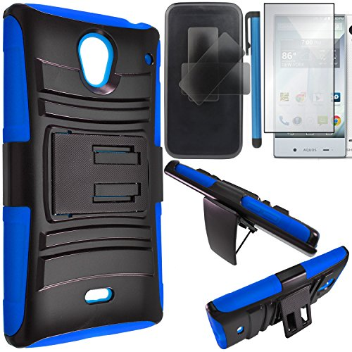 Sharp Aquos Crystal Case Combo(3-items)-HERCULES Dual- Layer Hard/Gel Hybrid Kickstand Armor Case w/ Holster (Black/Blue)+ICE-CLEAR(TM) Screen Protector Shield(Ultra Clear)+Touch Screen Stylus (Sharp Aquos Case Armor compare prices)
