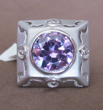 Ladies FASHION RING Size 8: Plated Matte Finish PEWTER Tone BAND w Round AMETHYST CUBIC Center Stone Pave Set