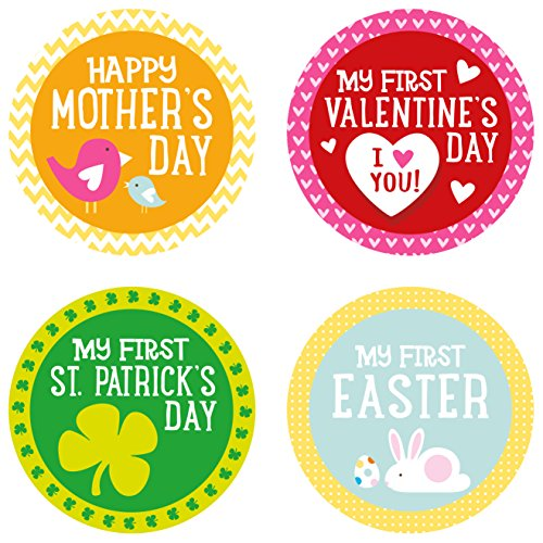 Pearhead Baby Holiday Belly Stickers with 14 Holidays Included, Multi - 1