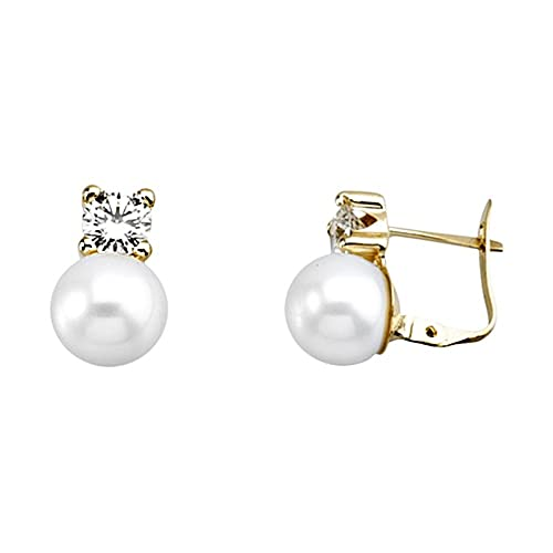 18k gold earrings 8mm pearl. 5mm cubic zirconia button. [AA5313]
