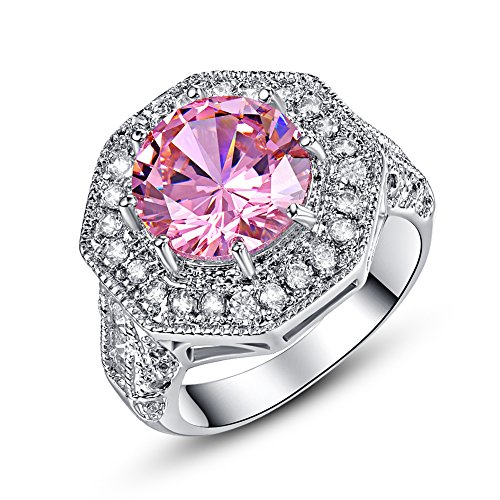Psiroy 925 Sterling Silver 8mm Pink Topaz Filled Ring Cluster Cocktail Band (Gem Cluster 16g compare prices)
