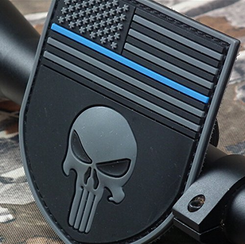 Multicam The Thin Blue Line Devgrusealteam Punisher American Flag Devgru Sealteam Tactical Velcro Patch by Maggie's Gift (Color: L-Classic)