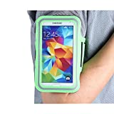 Boriyuan New Adjustable Gym Jogging Running PU Leather Sport Armband Protective Case with Key Earphone Holder Slot for Samsung Galaxy S5 GS 5 V I9600 G900A G900P G900V G900T Smartphone (Green)