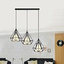 Winson Stylish design Elegant Vintage Style Pendant ceiling Light Shade Stylish Pendant LightsRetro-iron chandeliers 3 diamond head straight up