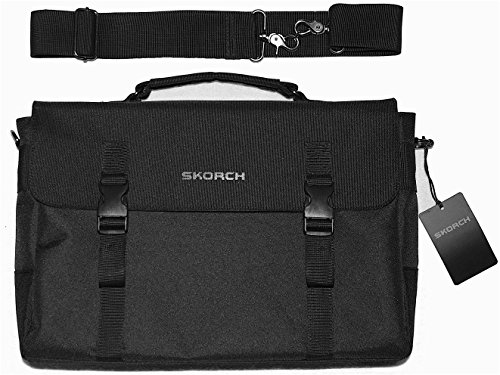SKORCH Luxury Messenger Bag, Laptop Bag for Men and Women. Ideal for Work, School, Travel. Internal and External Pockets and Thick Shoulder Strap. (16 x 11 x 4, Black Premium Polyester) (Laptops Canada compare prices)