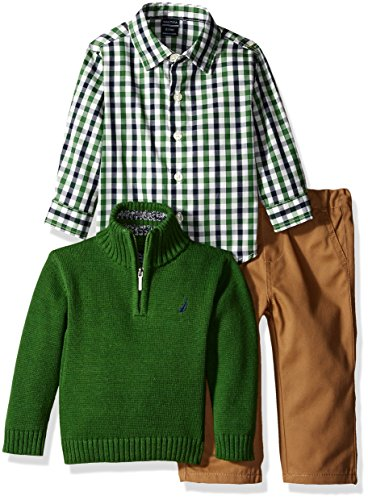 Nautica Baby Three Piece Set with Woven, Quarter Zip Sweater, Flat Front Twill Pants, Green, 18 Months