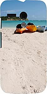 Snoogg Kayaks On Beach Designer Protective Back Case Cover For Motorola G / M...
