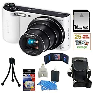Samsung WB150 14.2MP WI-Fi Digital Camera with 18x Optical Zoom and 3-inch LCD in White + 16GB Memory Card + Replacement Battery Pack + Camera Case + Accessory Kit
